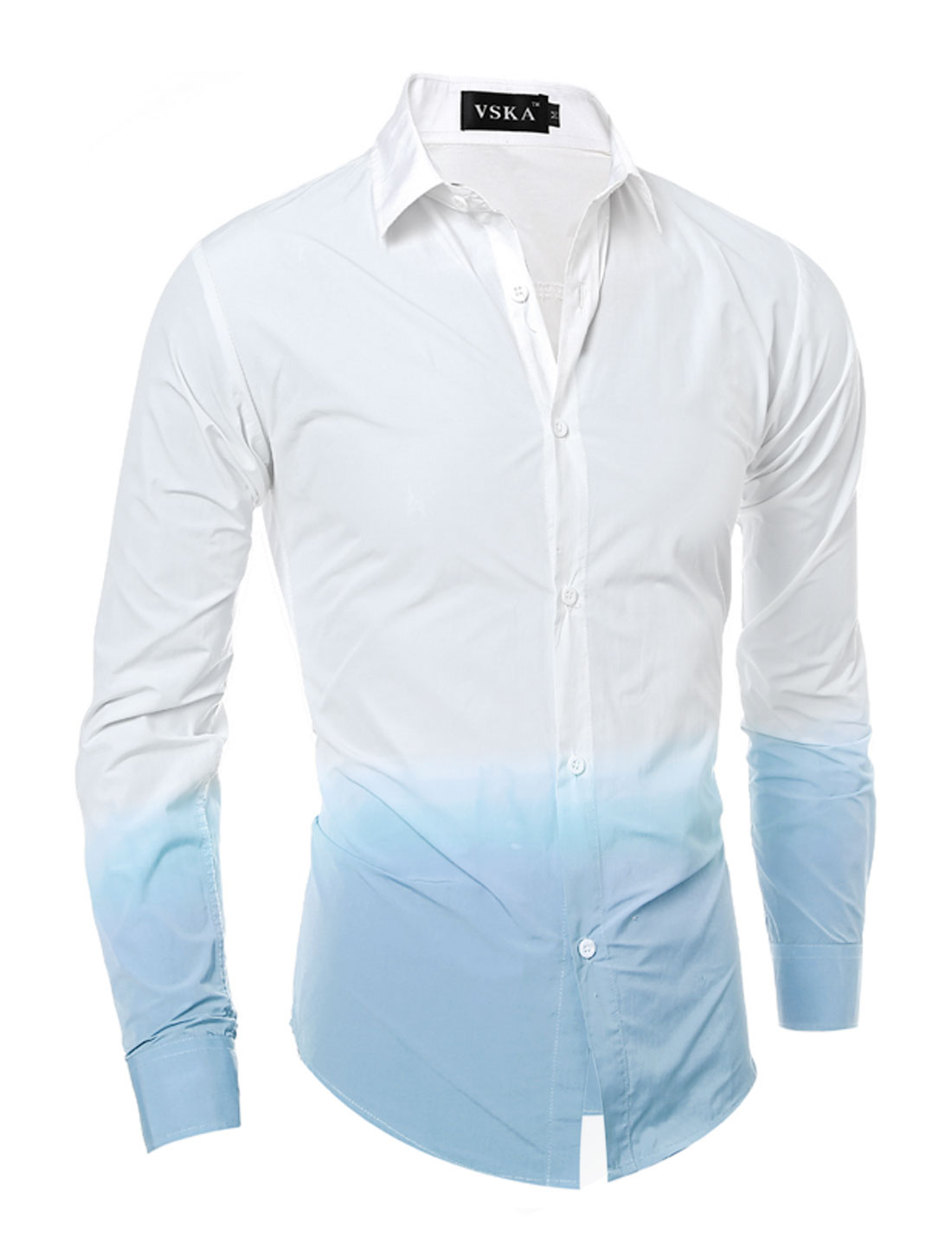 Men Button Down Dip-Dye Slim Fit Shirt Blue White S