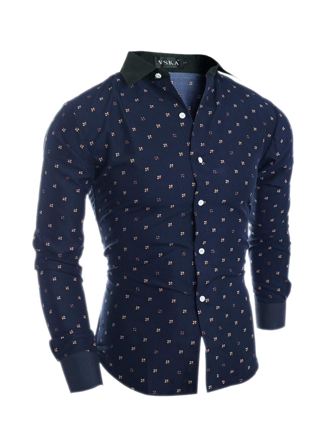 Man Collared Button Up Slim Fit Floral Shirt Navy Blue S