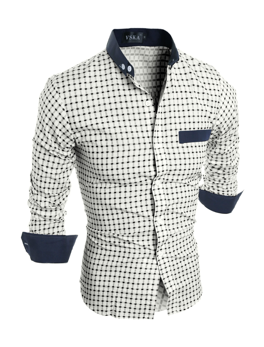 Man Button Closure Slim Fit Plaids Shirt White S
