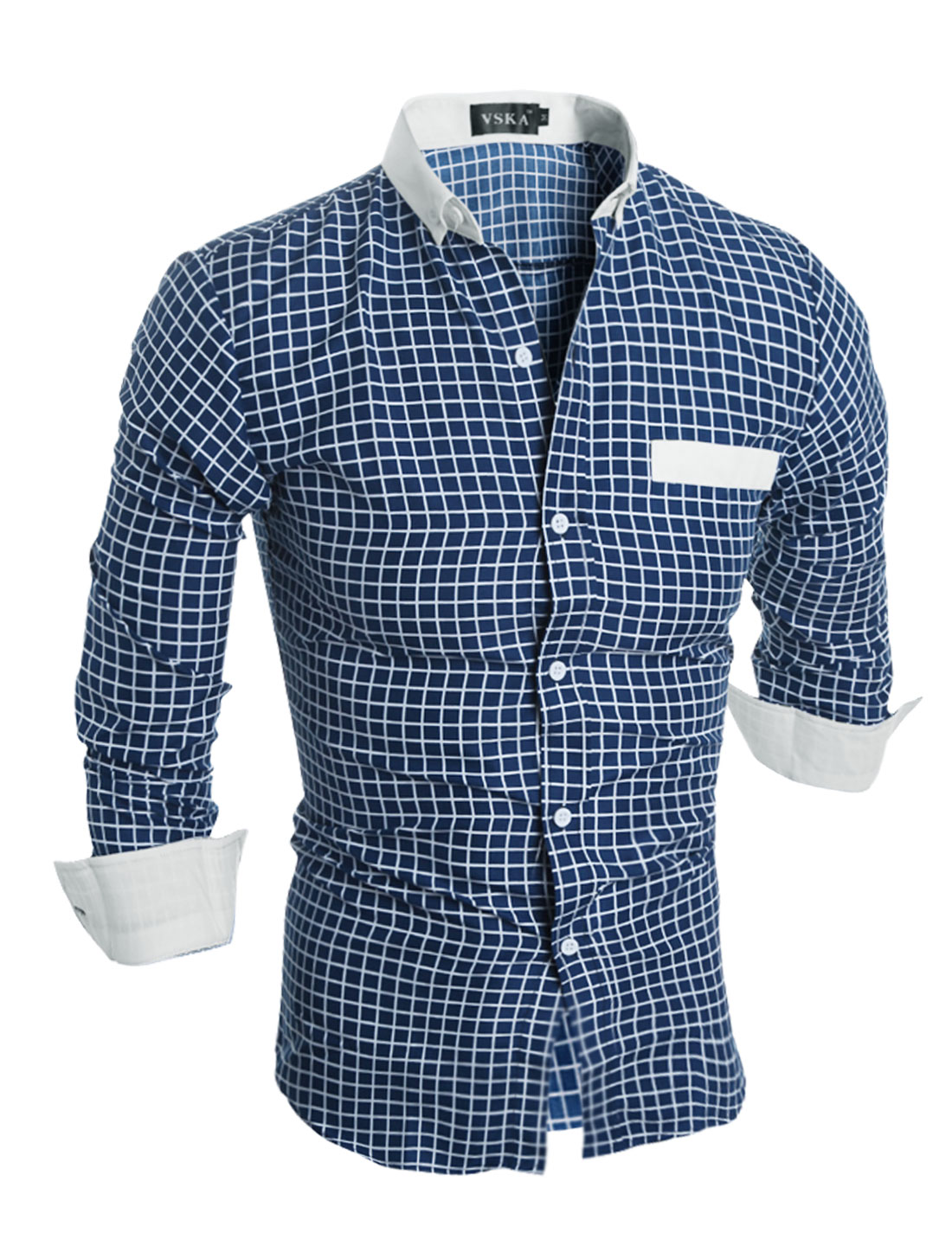 Man Button Closure Slim Fit Plaids Shirt Dark Blue S
