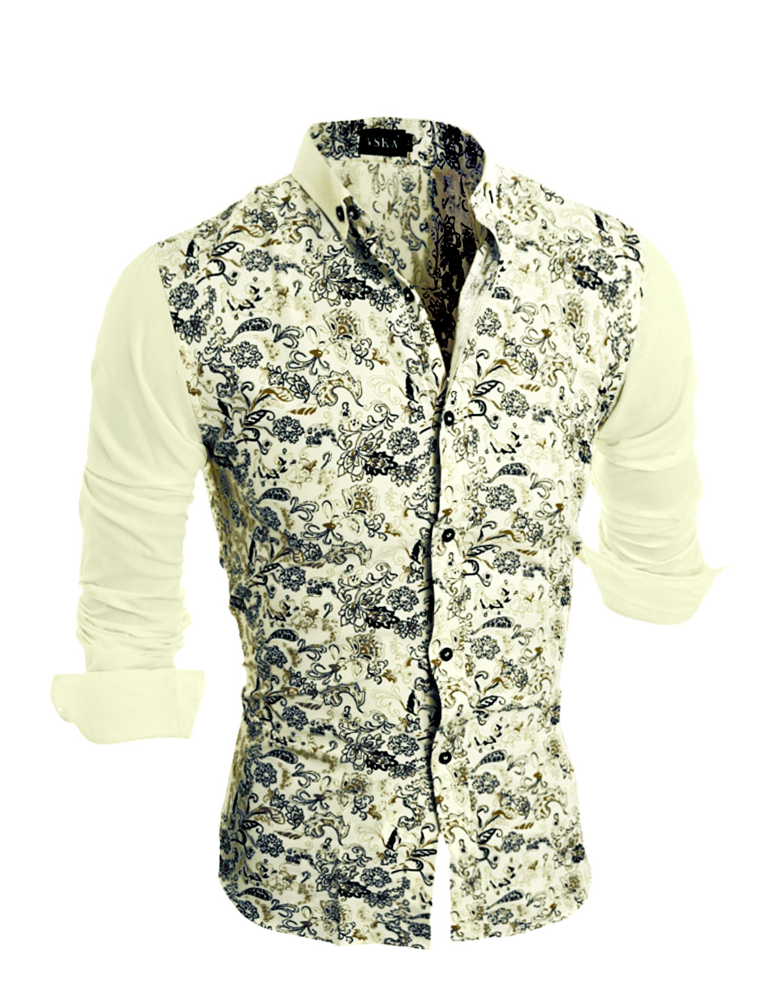 Man Long Sleeves Collared Buttoned Flower Shirt Yellow S
