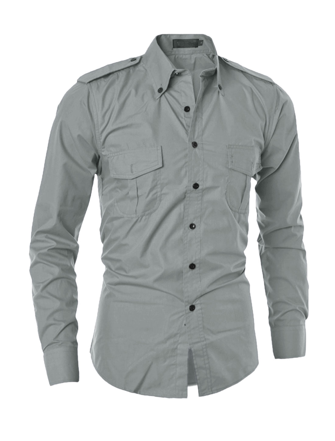 Man Flap Pockets Point Collar Buttoned Shirt Gray S