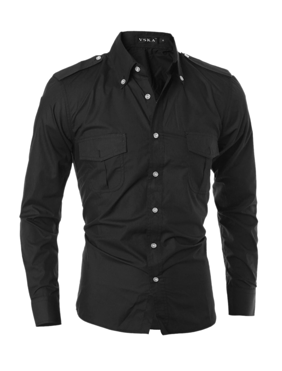 Man Flap Pockets Point Collar Buttoned Shirt Black S