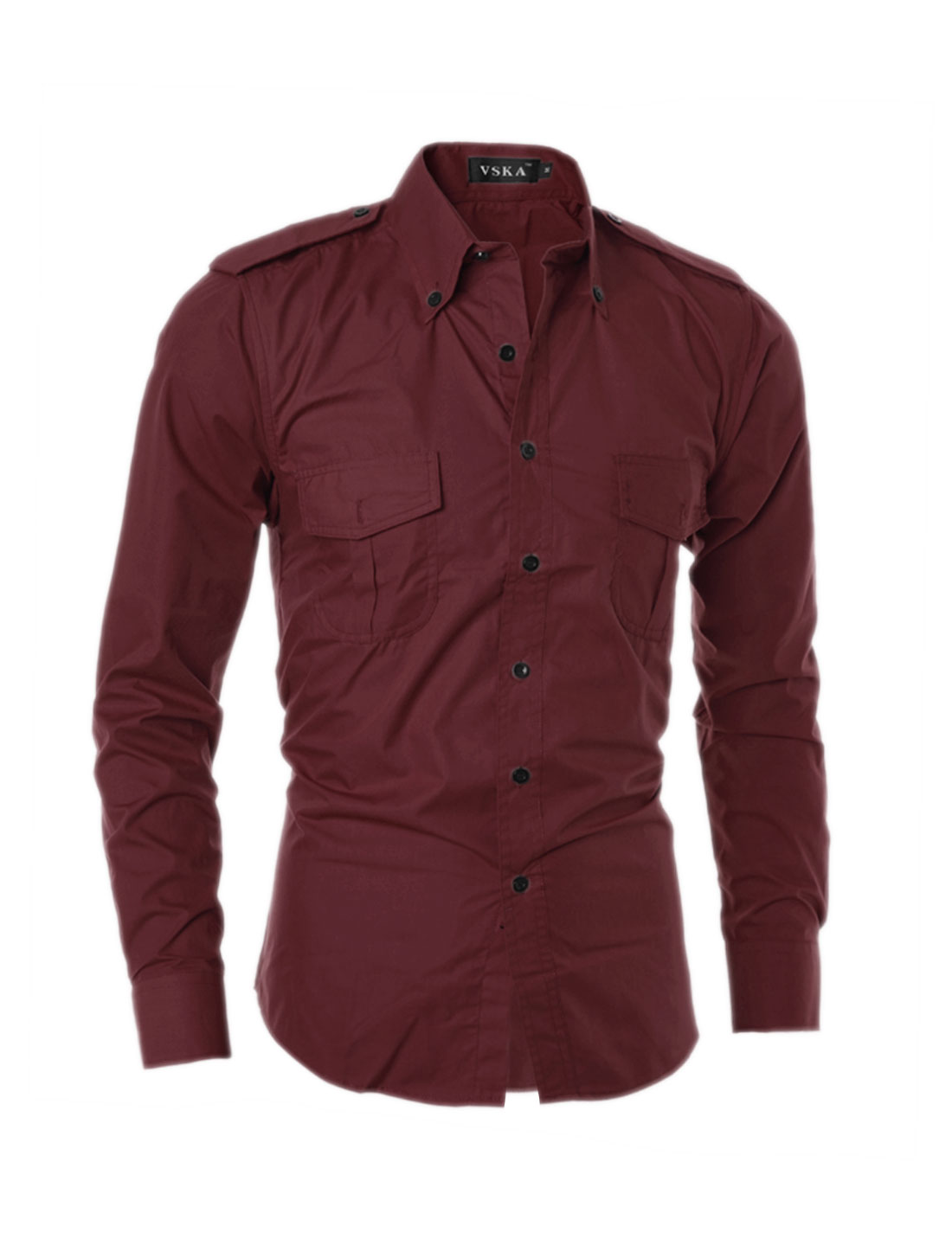 Man Flap Pockets Point Collar Buttoned Shirt Red S