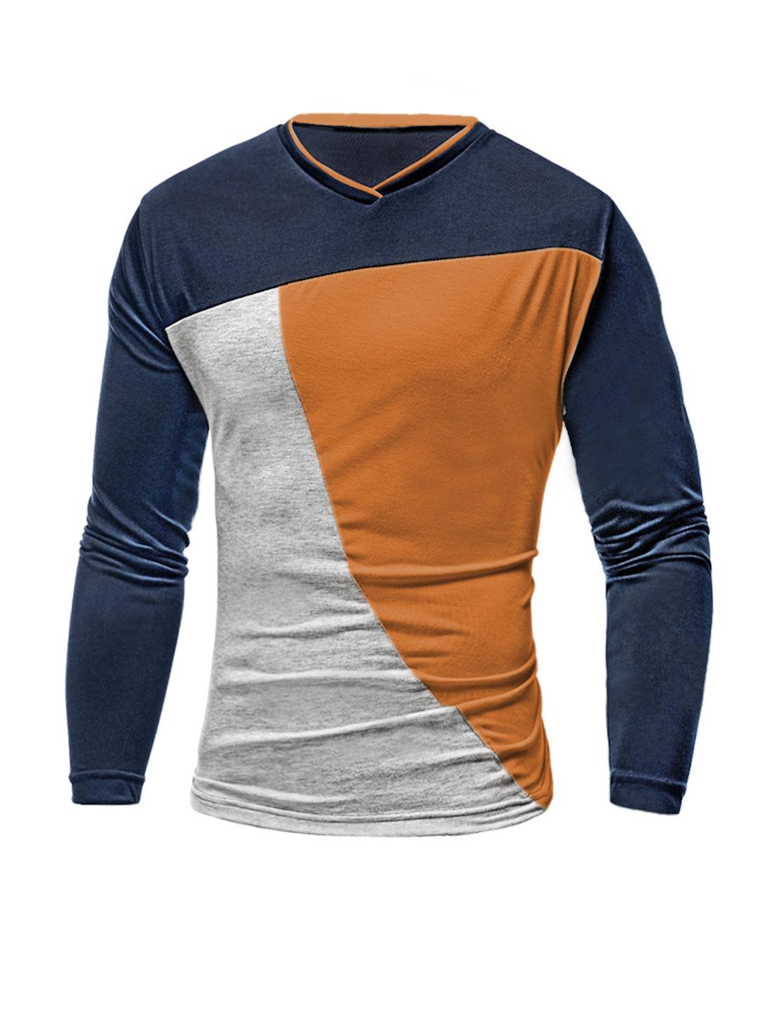 Men V Neck Long Sleeves Color Block Slim Fit T-Shirt Brown M