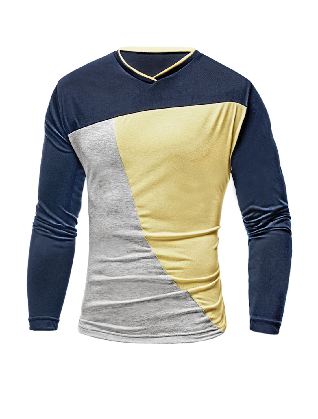 Men V Neck Long Sleeves Color Block Slim Fit T-Shirt Yellow M