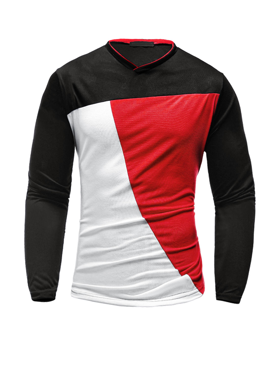 Men V Neck Long Sleeves Color Block Slim Fit T-Shirt Red M