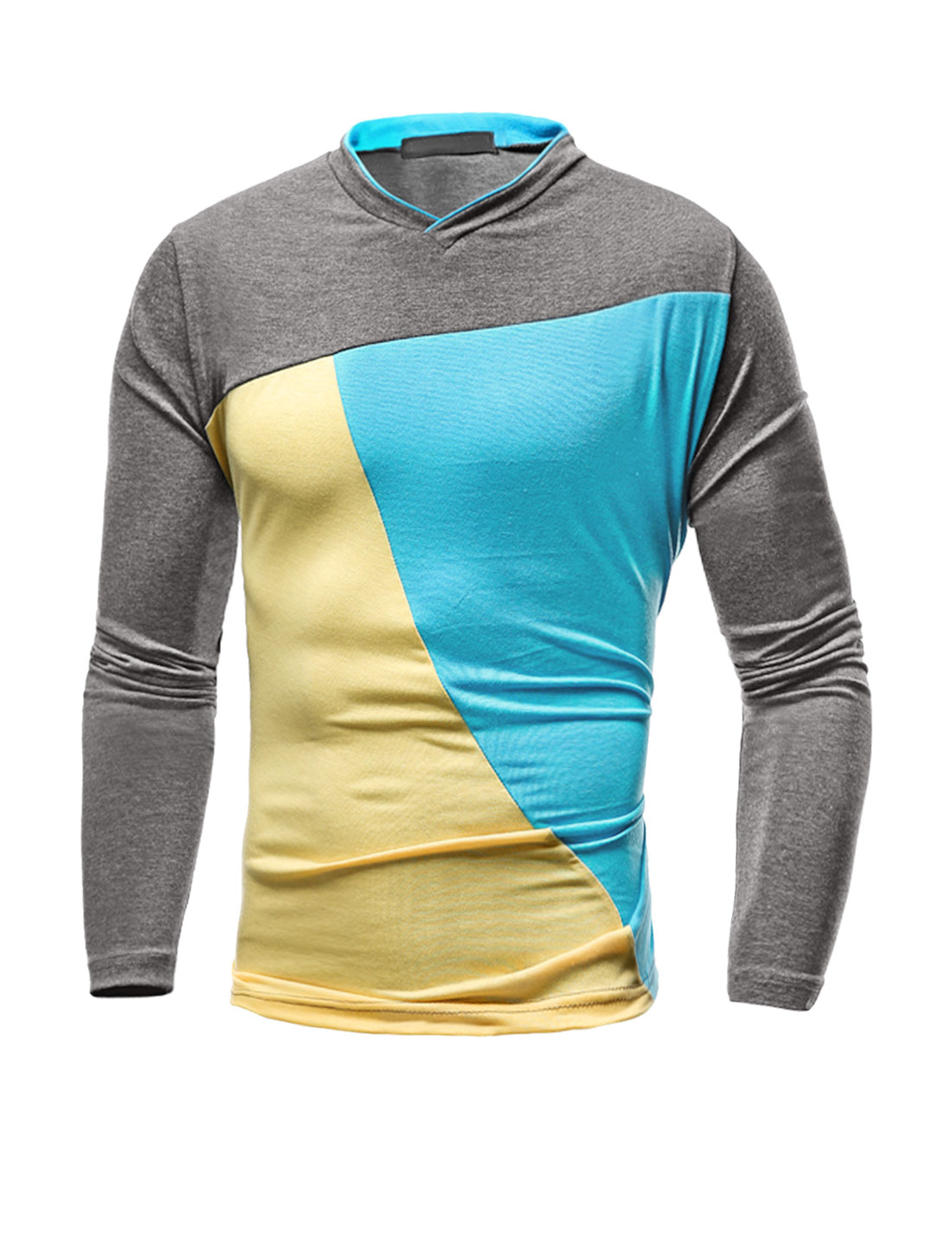 Men V Neck Long Sleeves Color Block Slim Fit T-Shirt Blue M