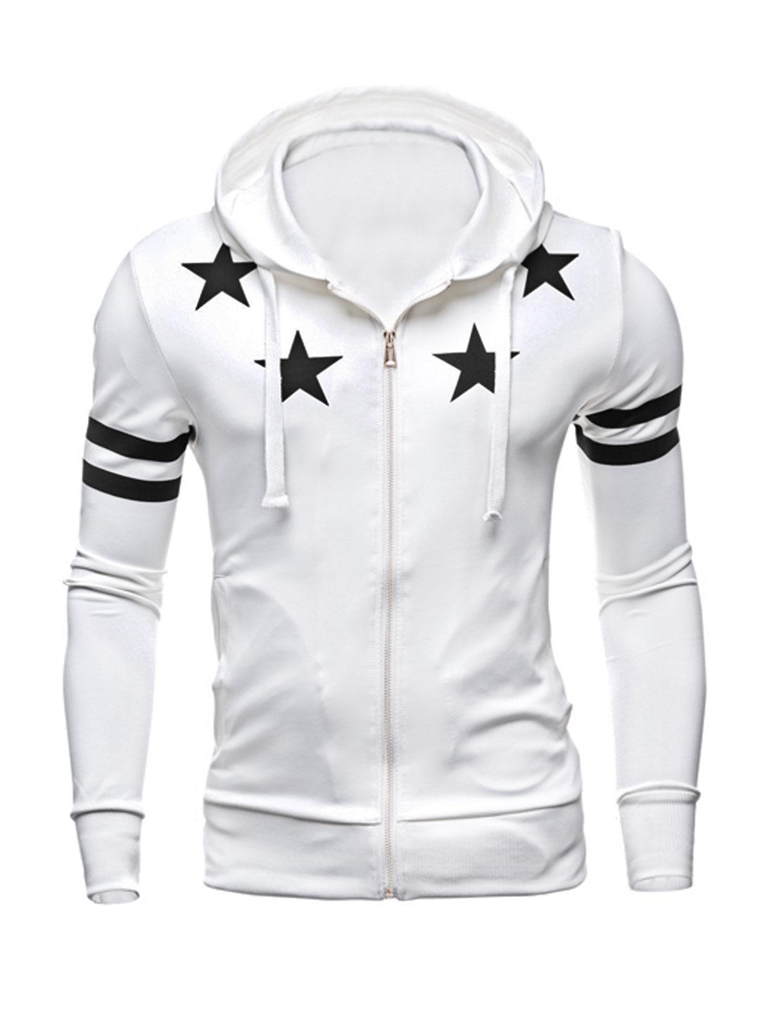 Men Zip Closed Stars Stripes Slim Fit Hooded Jacket White M