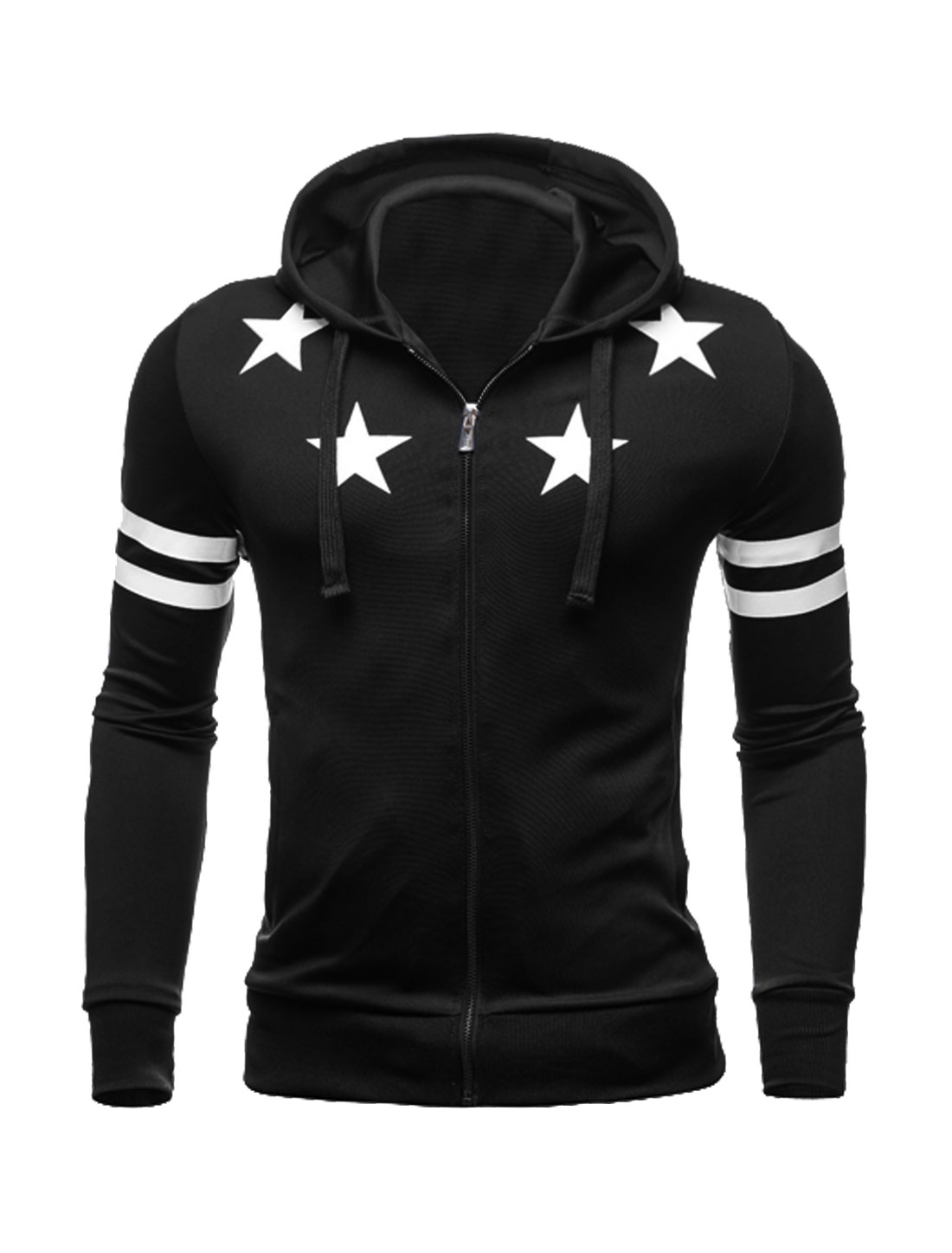 Men Zip Closed Stars Stripes Slim Fit Hooded Jacket Black M
