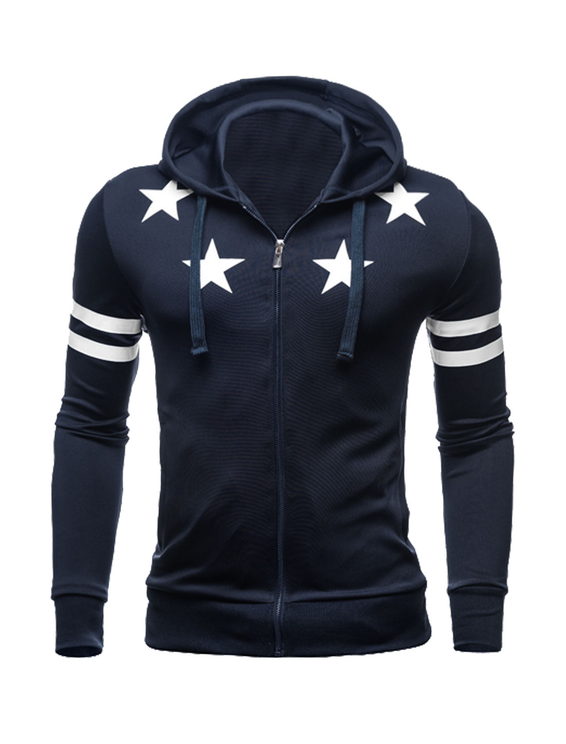 Men Zip Closed Stars Stripes Slim Fit Hooded Jacket Blue M