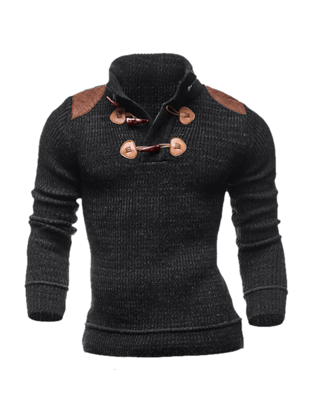 Men Collared Toggle Button Upper PU Panel Knit Shirt Gray M