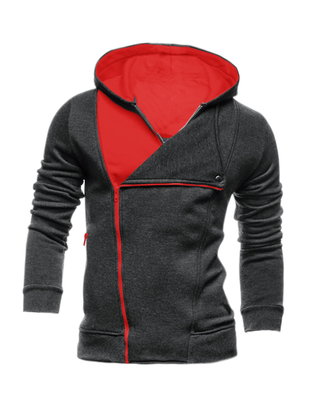 Men Inclined Zipper Layered Color Block Hooded Jacket Gray M