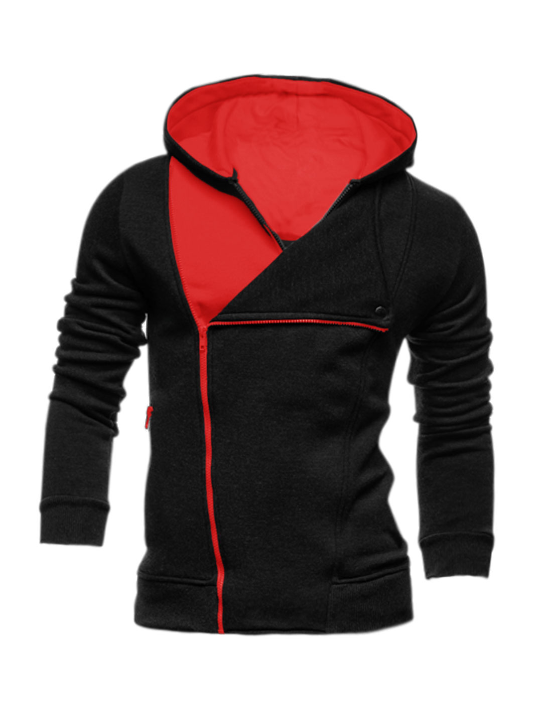Men Inclined Zipper Layered Color Block Hooded Jacket Black M