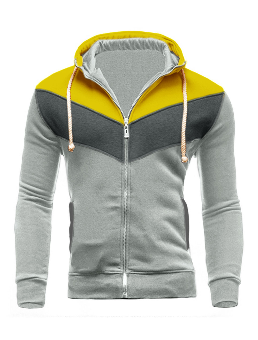Men Zip Closed Color Block Hooded Jacket Gray Yellow M
