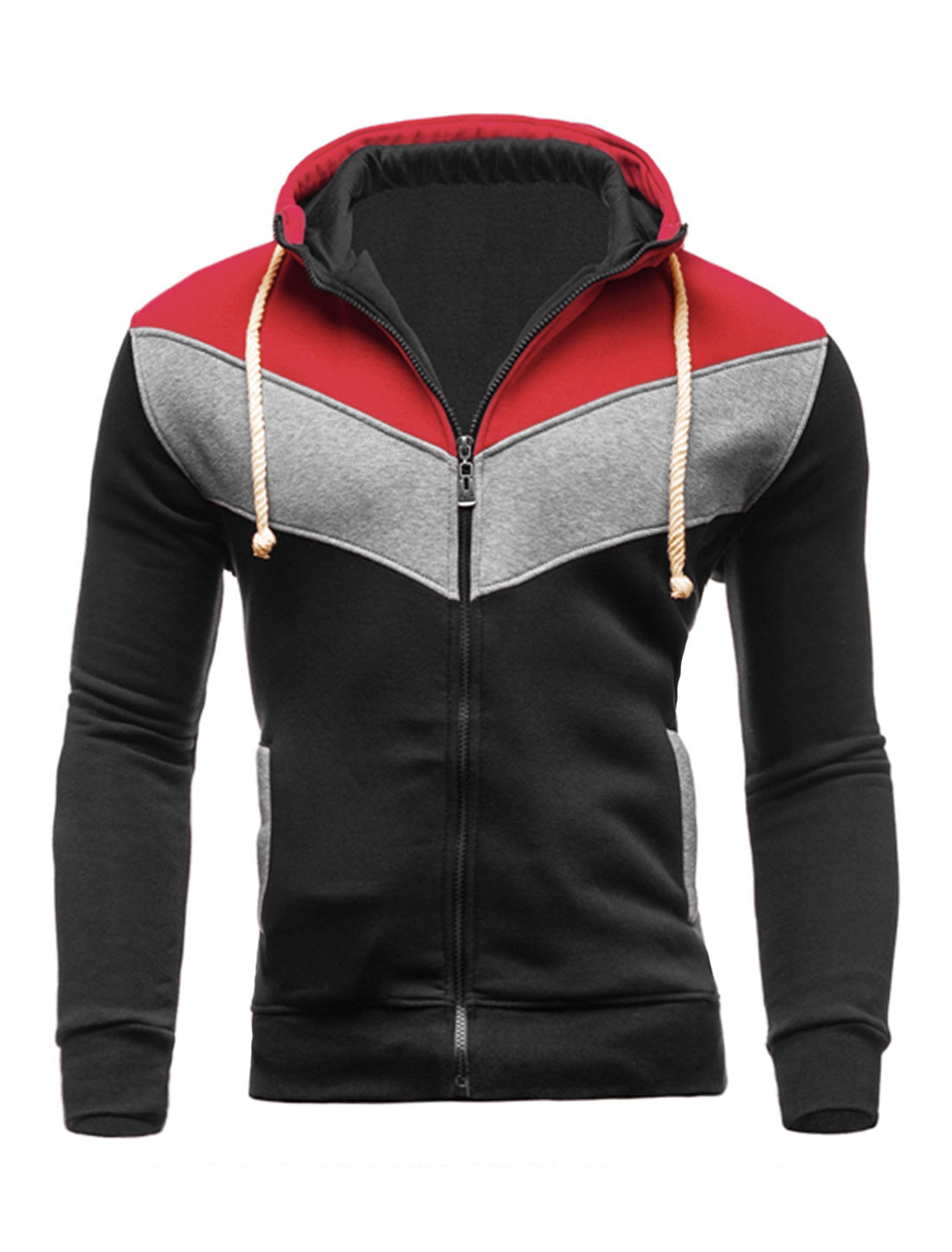 Men Zip Closed Color Block Hooded Jacket Black Red M
