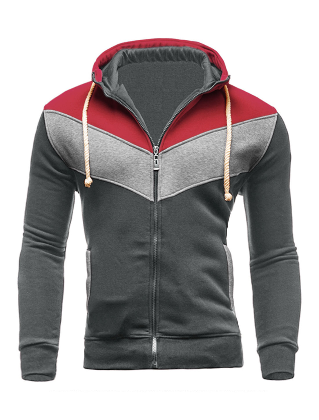 Men Zip Closed Color Block Hooded Jacket Gray Red M