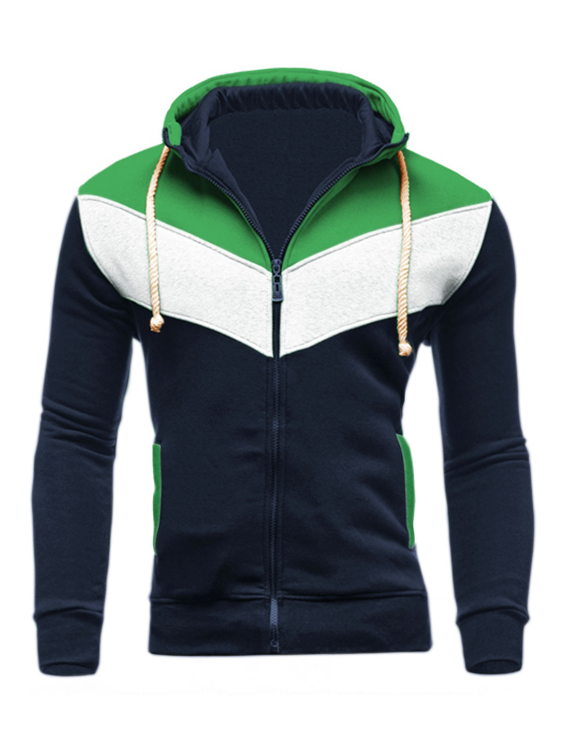Men Zip Closed Color Block Hooded Jacket Blue Green M