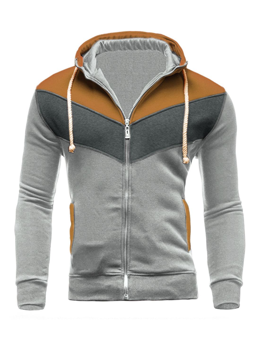 Men Zip Closed Color Block Hooded Jacket Gray Brown M