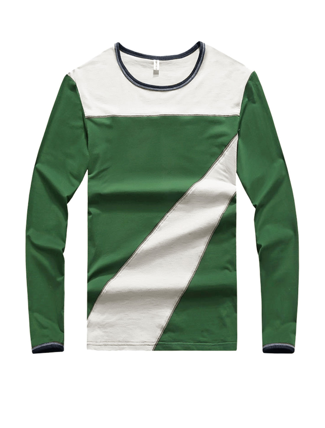 Men Crew Neck Long Sleeves Color Block Slim Fit T-Shirt Green S