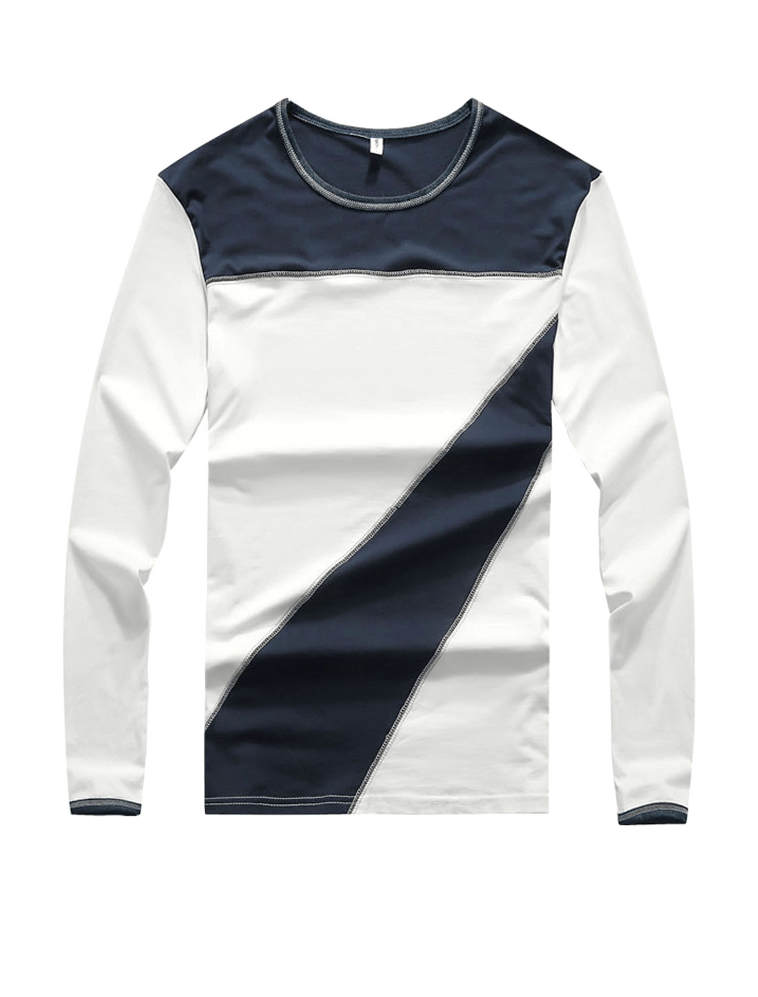Men Crew Neck Long Sleeves Color Block Slim Fit T-Shirt White S