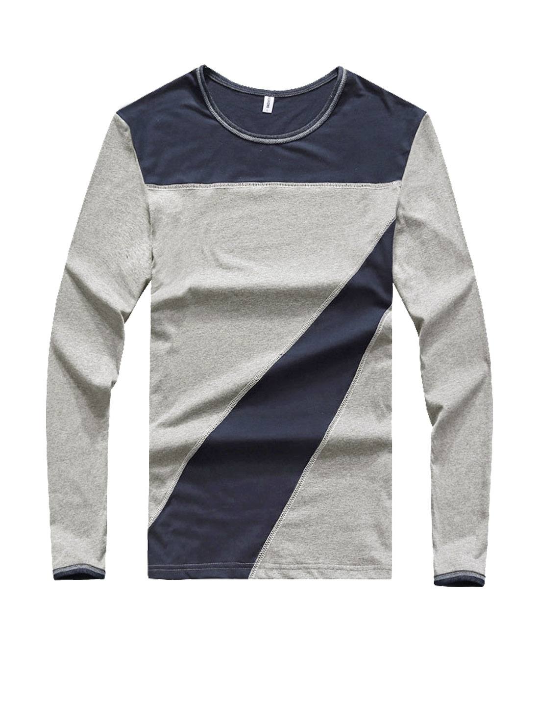 Men Crew Neck Long Sleeves Color Block Slim Fit T-Shirt Light Gray S