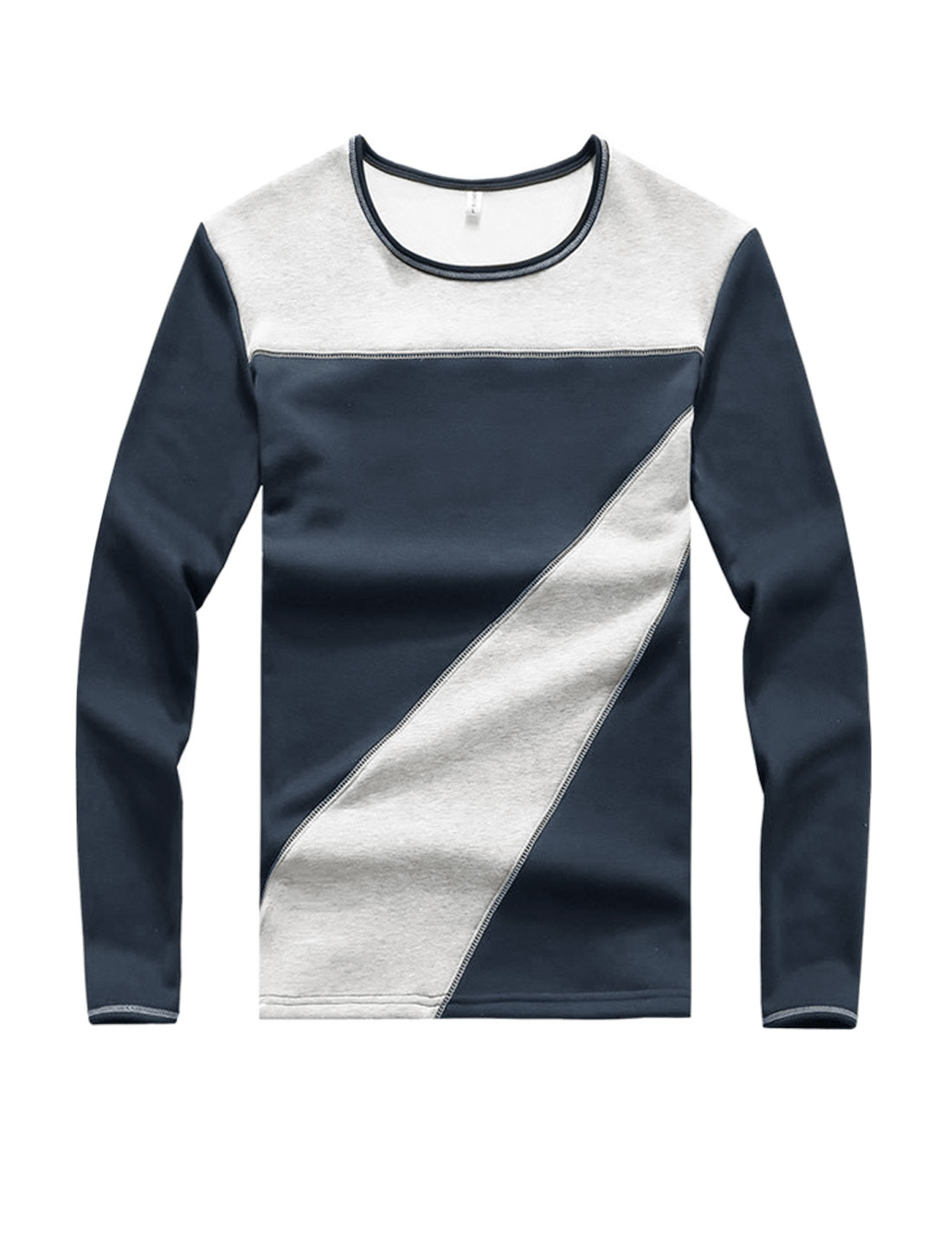 Men Crew Neck Long Sleeves Color Block Slim Fit T-Shirt Blue S