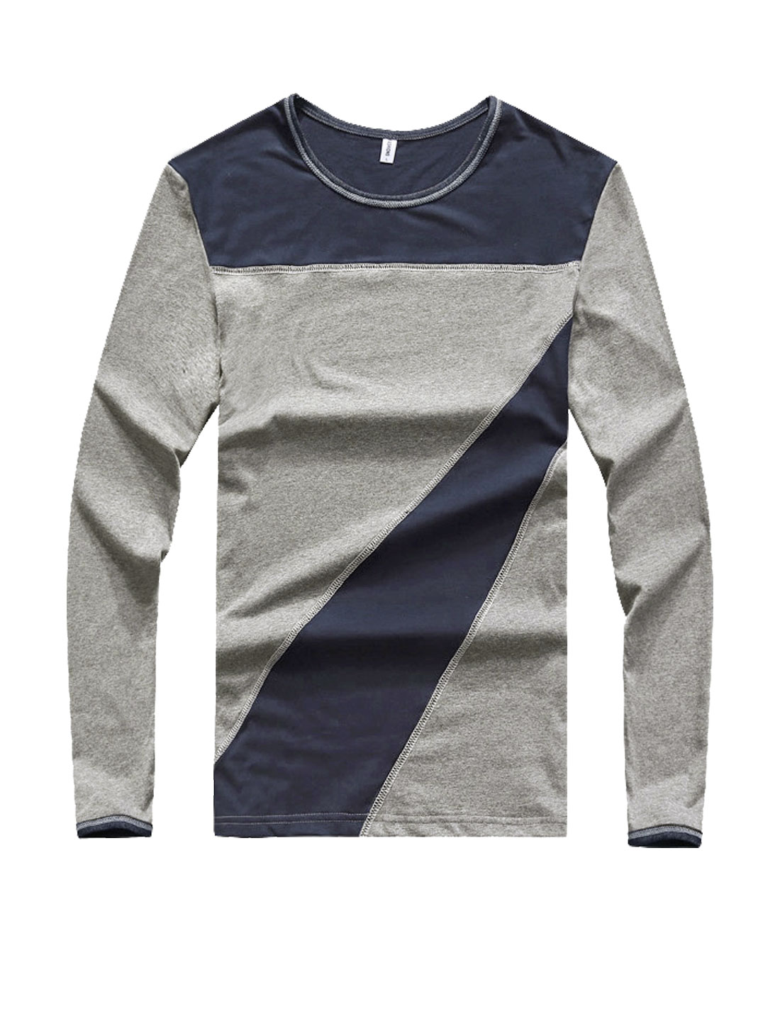 Men Crew Neck Long Sleeves Color Block Slim Fit T-Shirt Dark Gray S