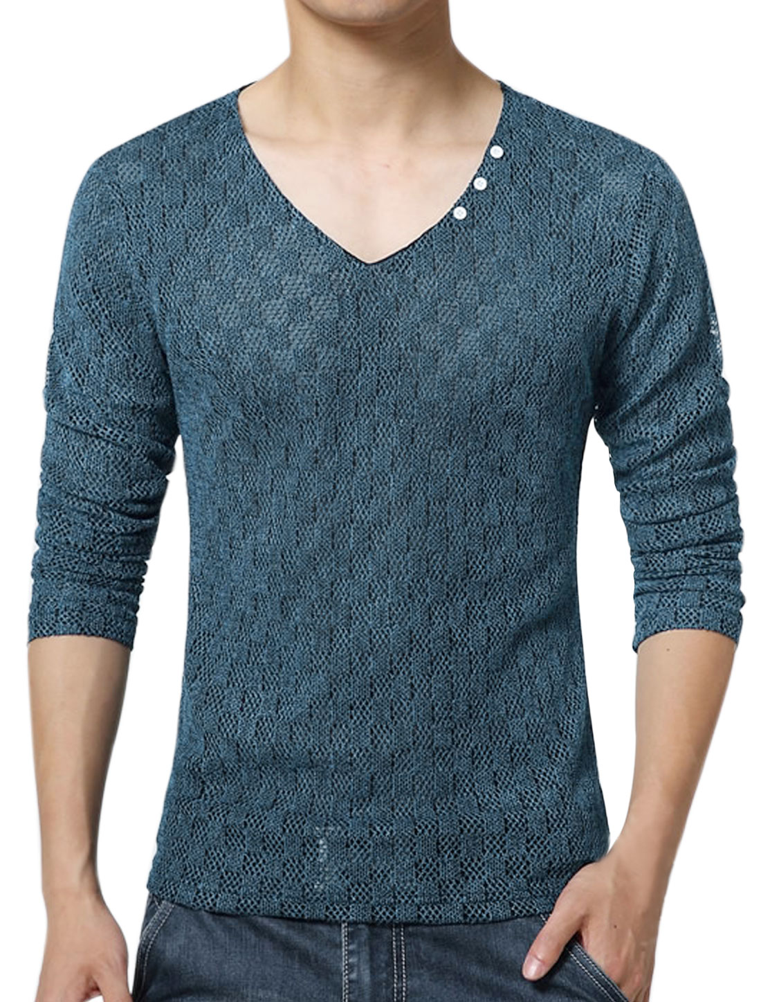 Men V Neck Long Sleeves Slim Fit Plaids Mesh Top Dark Blue S