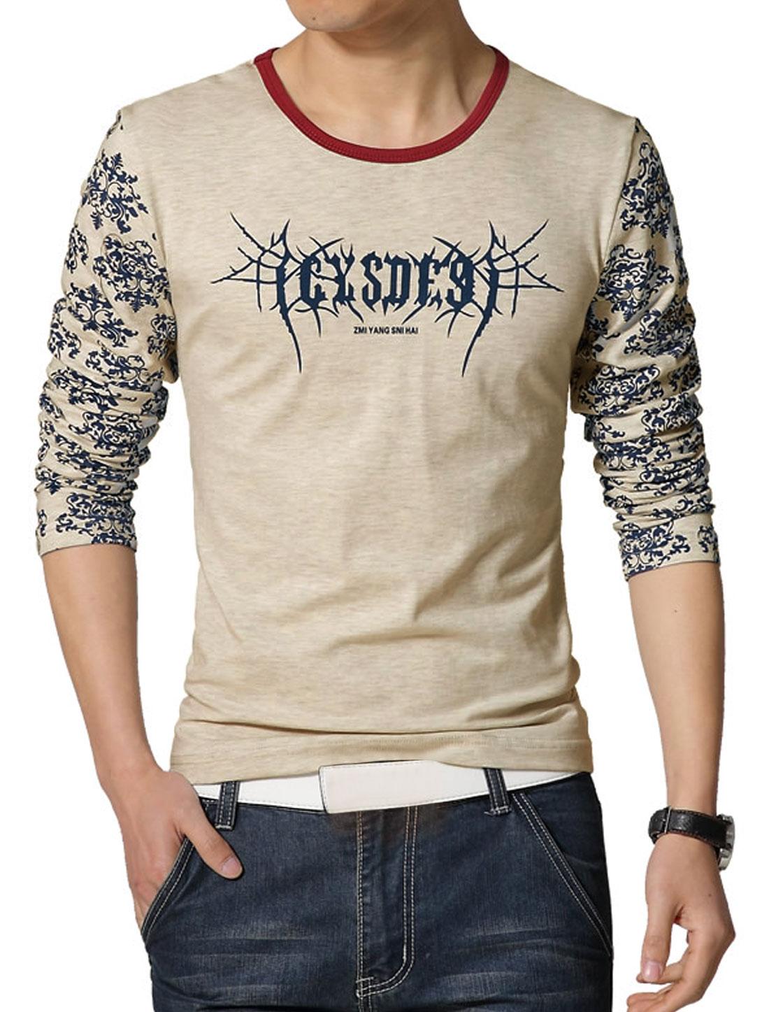 Men Long Sleeves Novelty Letters Slim Fit T-Shirt Beige S