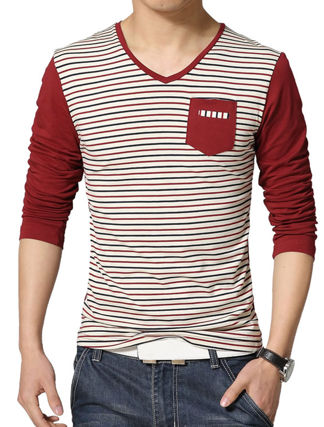 Men V Neck Long Sleeves Stripes T-Shirt w Pocket Red S
