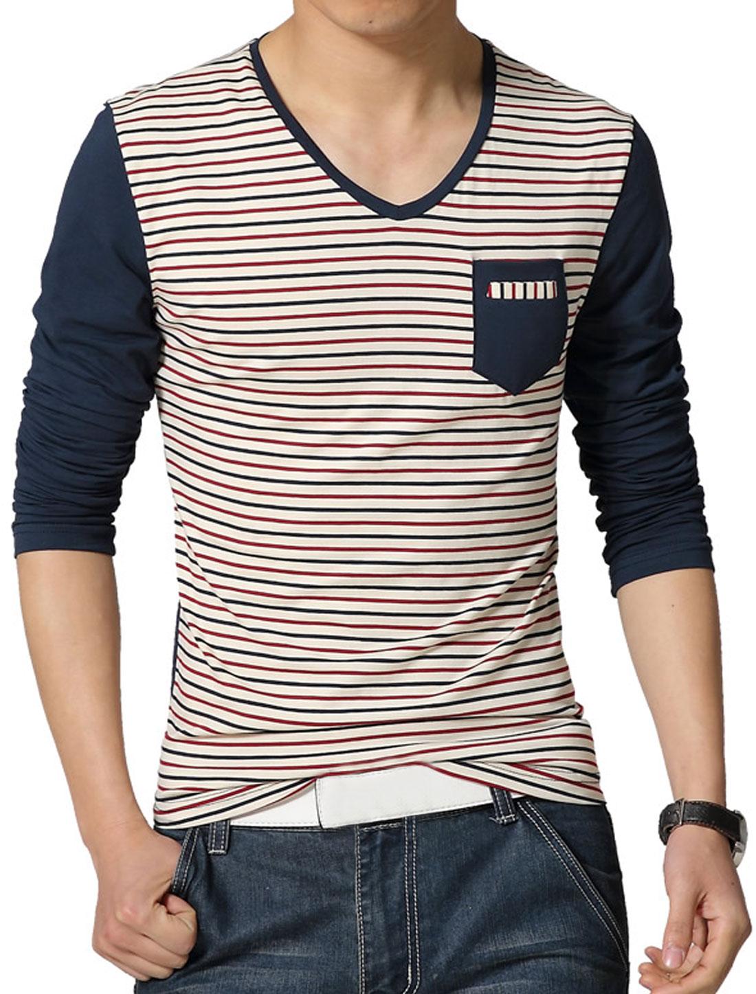 Men V Neck Long Sleeves Stripes T-Shirt w Pocket Blue S