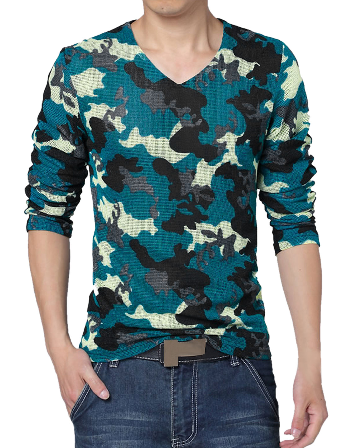 Men V Neck Long Sleeves Camouflage Mesh T-Shirt Blue S