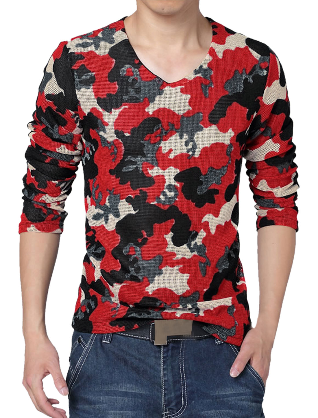 Men V Neck Long Sleeves Camouflage Mesh T-Shirt Red S