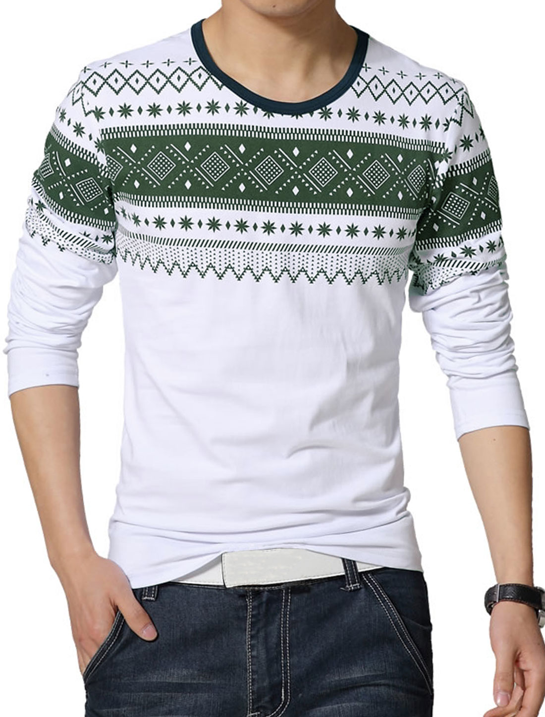 Men Round Neck Long Sleeves Geometric Slim Fit T-Shirt White S