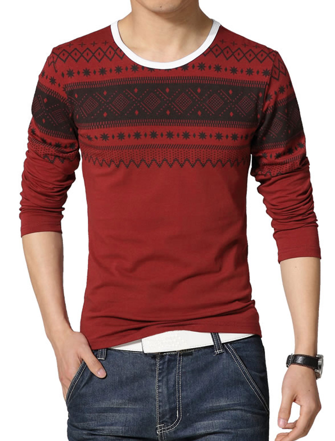 Men Round Neck Long Sleeves Geometric Slim Fit T-Shirt Red S