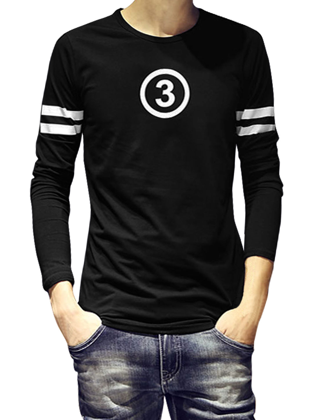 Men Long Sleeves Number Stripes Slim Fit T-Shirt Black S