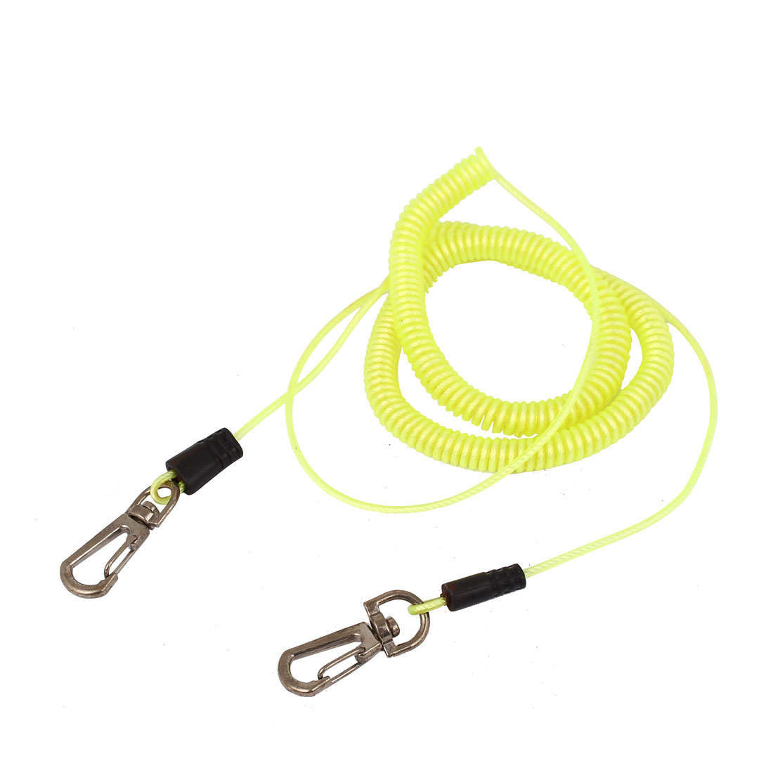 1M Long Dual Lobster Clasp Stretchy Coiled Plastic Fishing Rope Cable Yellow