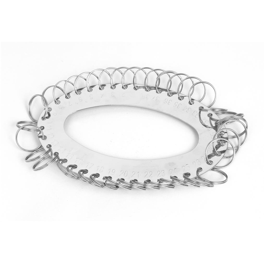 Metal Oval Shaped 38 Separable Split Rings Key Chain Organizer Silver Tone