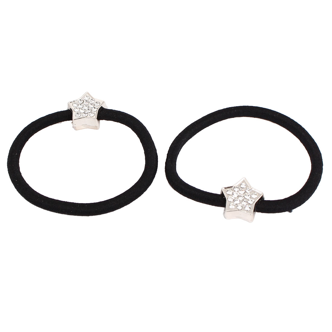 Metal Star Decor Women Elastic Hair Ring Rope Band Ponytail Holder Black 2Pcs