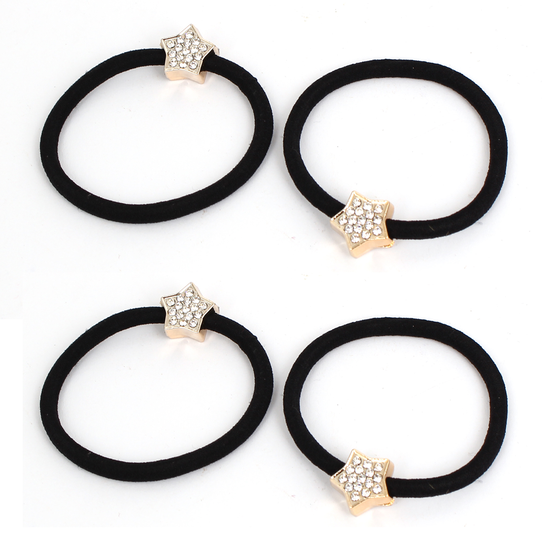 Metal Star Decor Women Elastic Hair Ring Rope Band Ponytail Holder Black 4Pcs