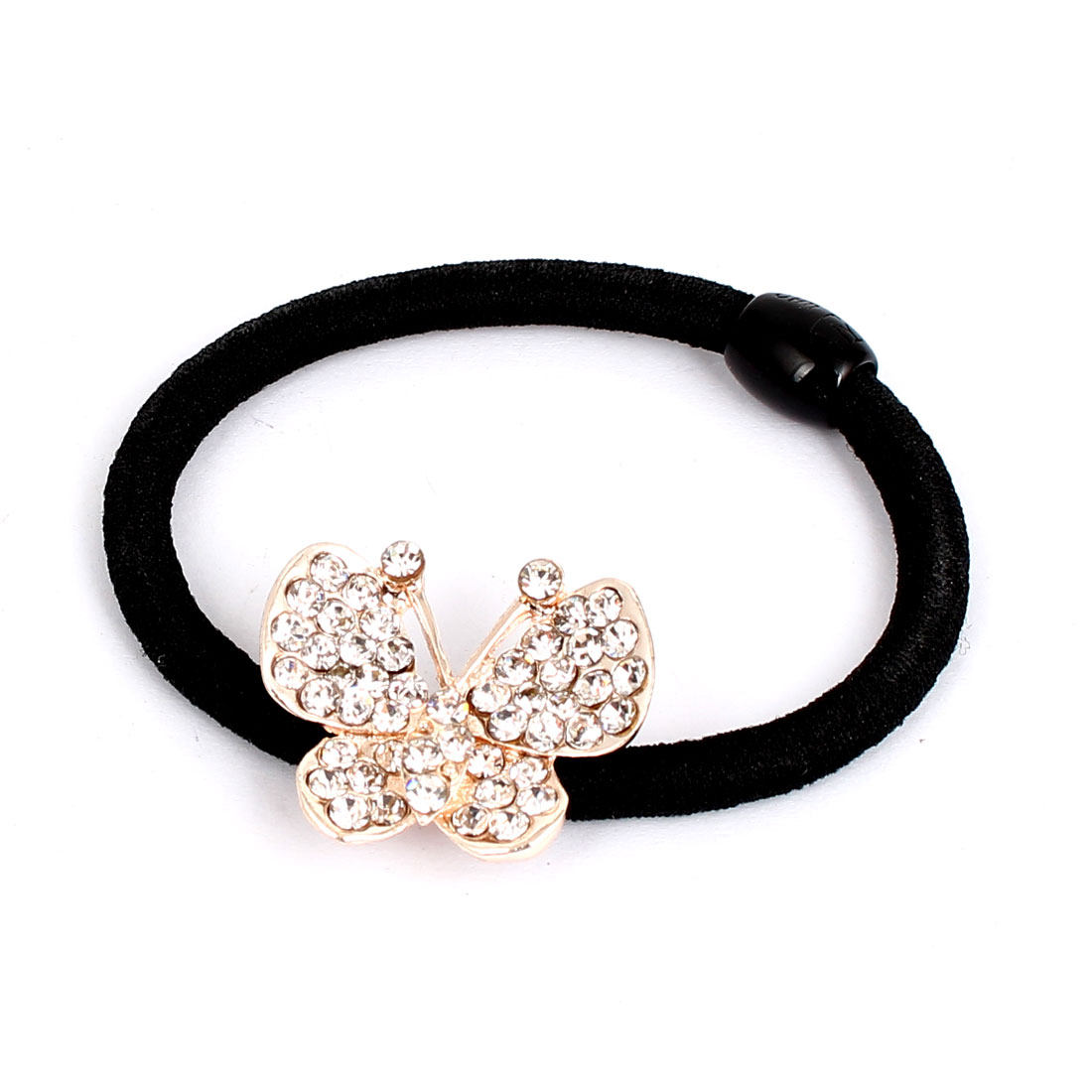Faux Rhinestone Inlaid Metal Butterfly Decor Women Elastic Hair Ring Rope Band Ponytail Holder Black