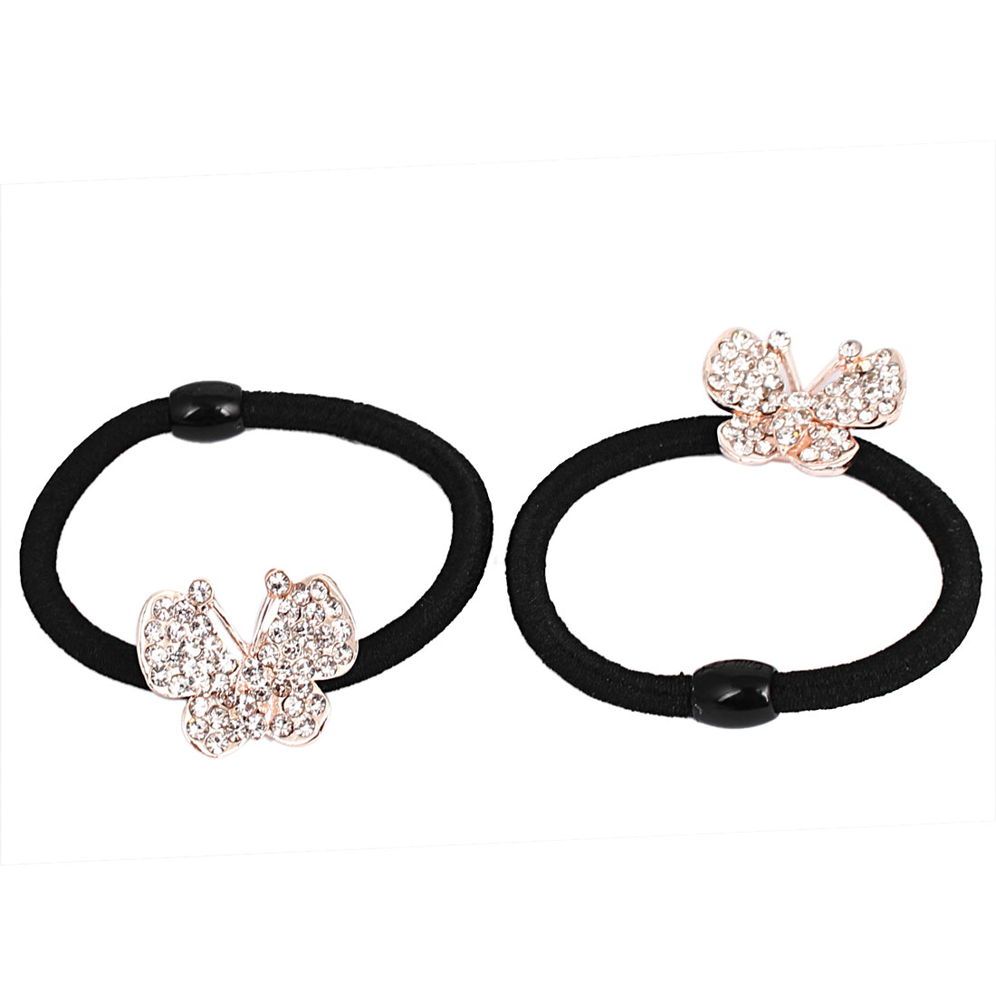 Faux Rhinestone Inlaid Butterfly Decor Women Elastic Hair Ring Rope Band Ponytail Holder Black 2Pcs