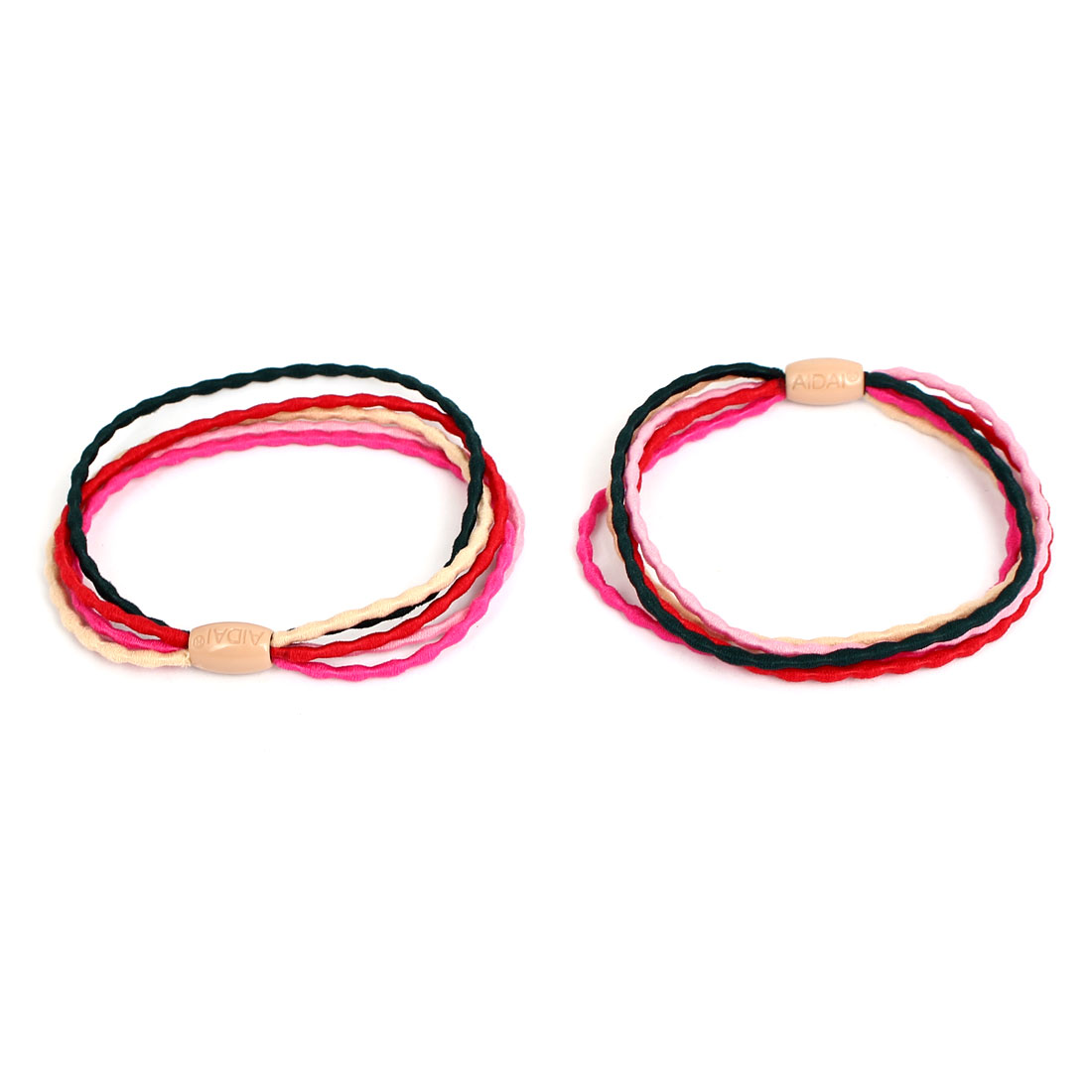Beige Barrel Bead Decor Women Elastic Hair Ring Rope Band Ponytail Holder Pair