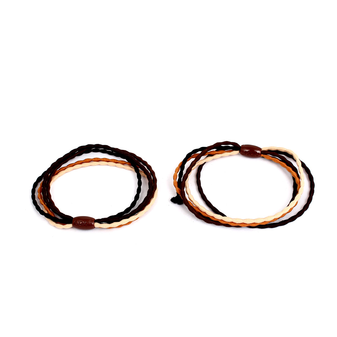 Brown Barrel Bead Decor Women Elastic Hair Ring Rope Band Ponytail Holder Pair