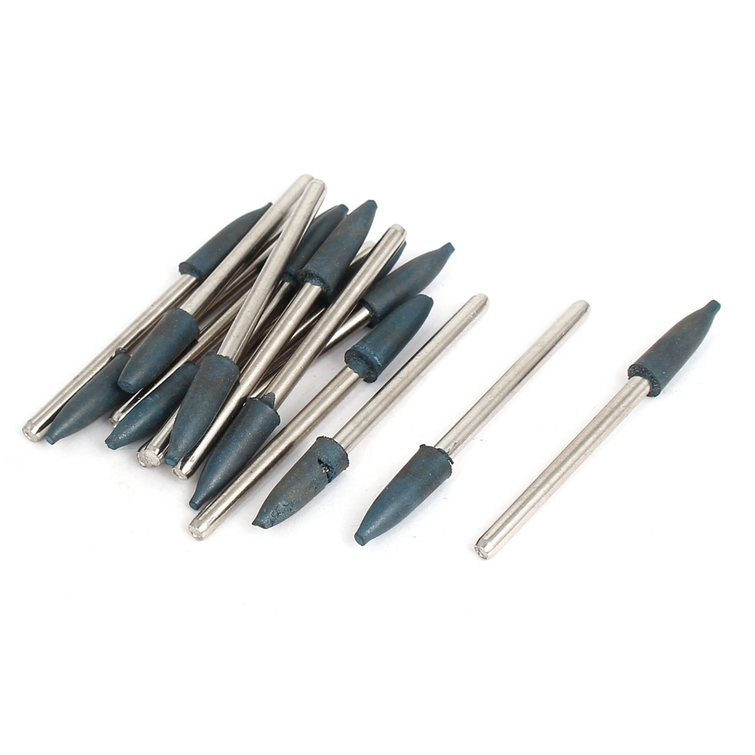 Cone Shaped Polishing Grinding Rotary Tool Rubber Mounted Point Blue 15Pcs
