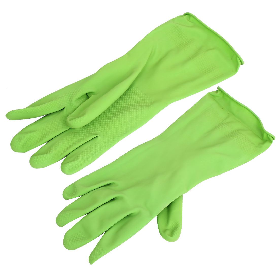 32cm Length Rubber Household Kitchen Cleaning Dish Washing Gloves Green Pair