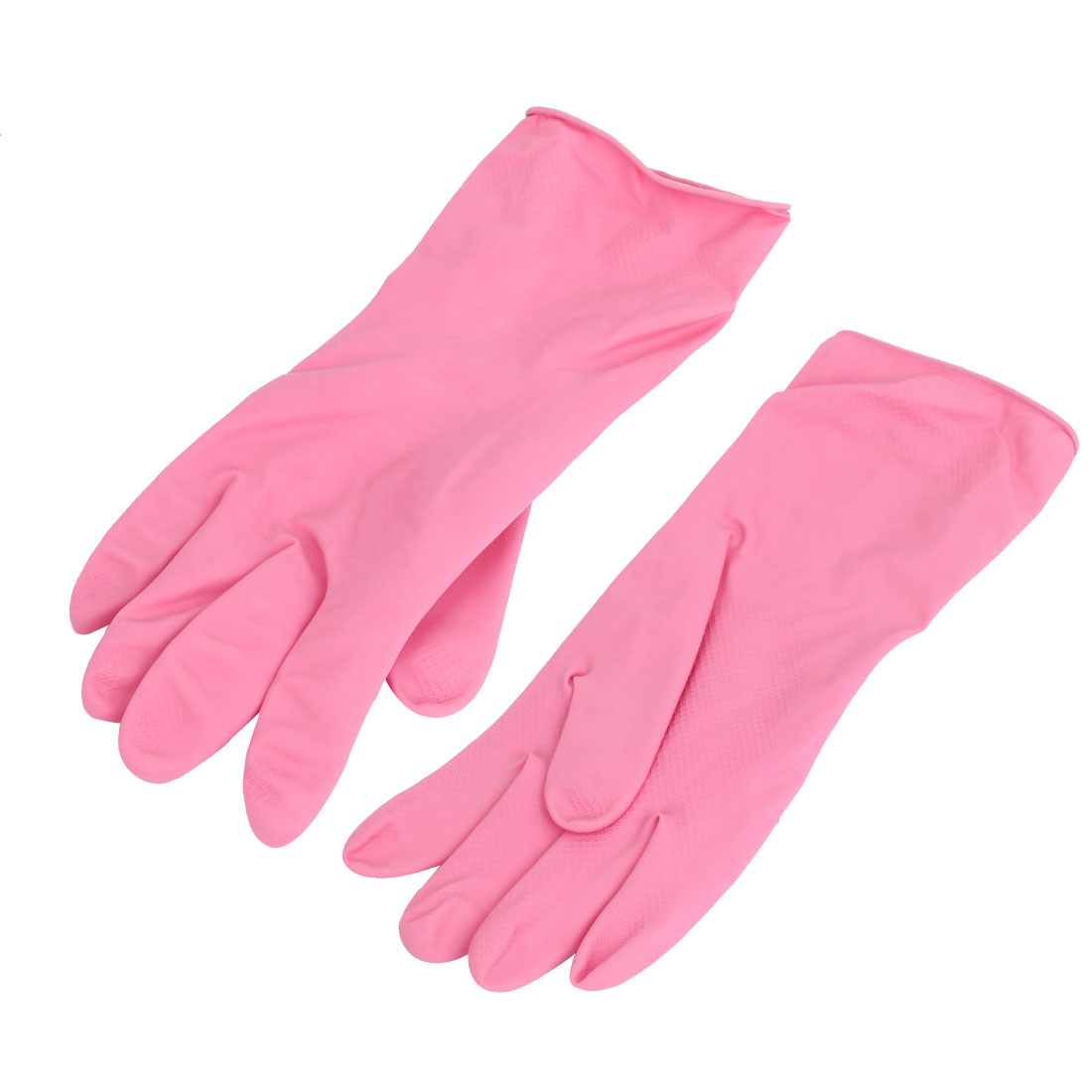 30cm Length Rubber Household Kitchen Dish Cleaning Washing Gloves Fuchsia Pair