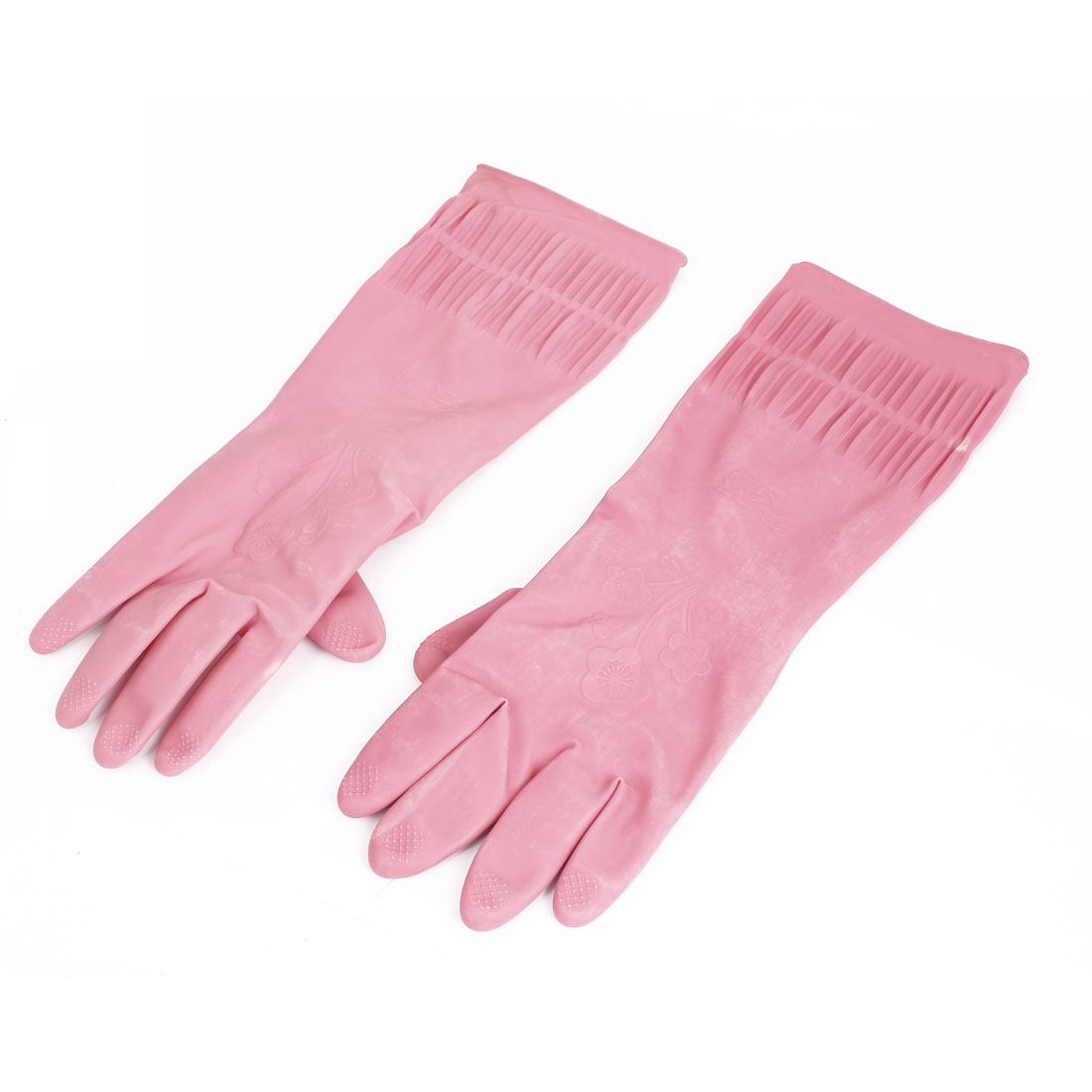 37cm x 13cm Rubber Household Kitchen Cleaning Dish Washing Gloves Pink Pair