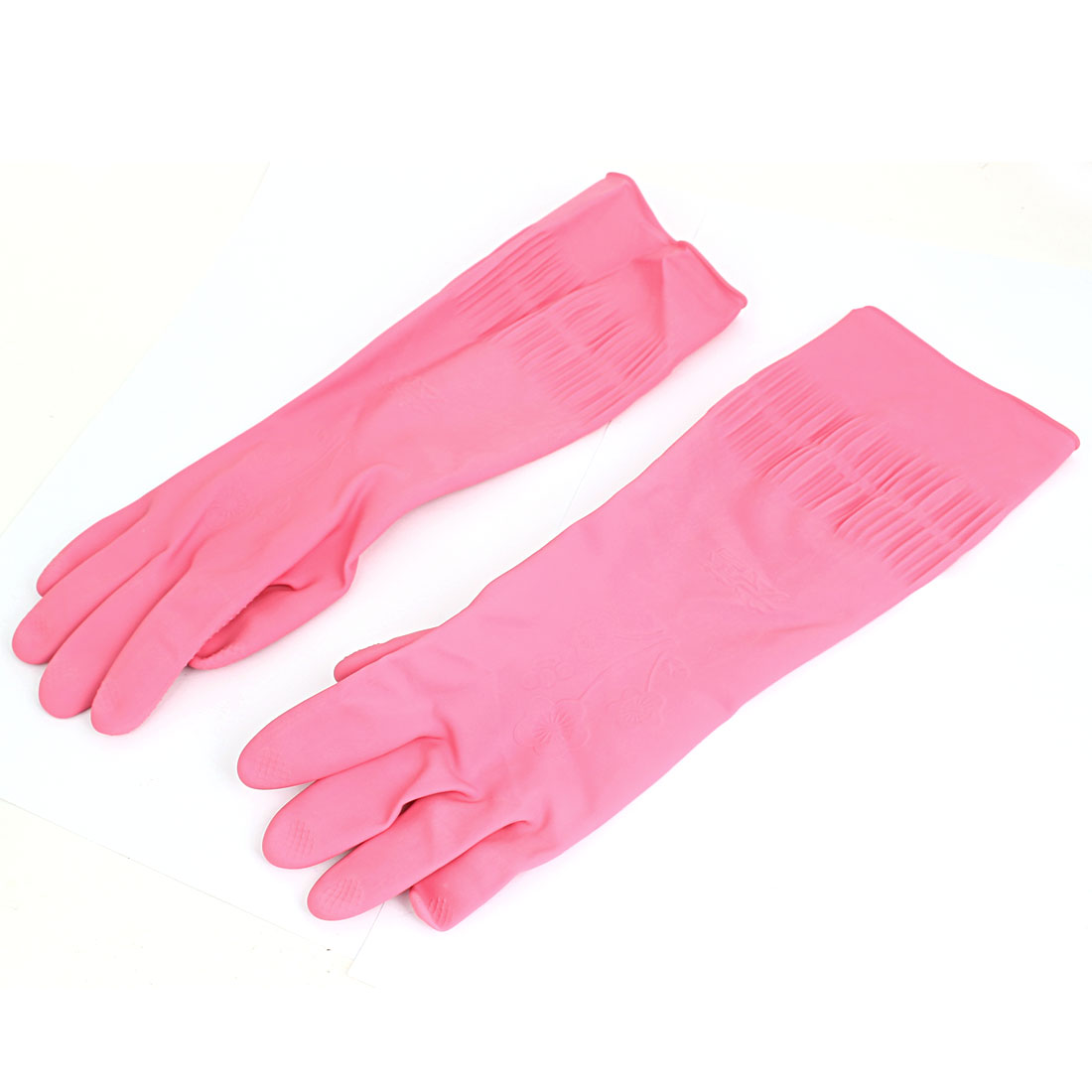 36cm x 12cm Rubber Household Kitchen Cleaning Dish Washing Gloves Fuchsia Pair